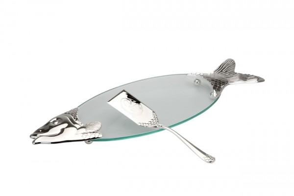 Lachsplatte Glas mit Heber